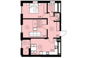 ЖК ул. Навроцкого: планировка 2-комнатной квартиры 65 м²
