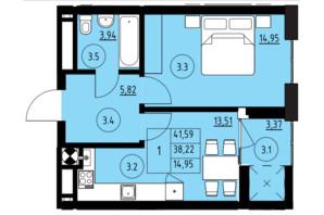 ЖК ул. Навроцкого: планировка 1-комнатной квартиры 41.59 м²