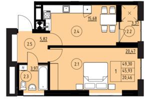 ЖК ул. Навроцкого: планировка 1-комнатной квартиры 49.3 м²
