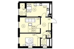 ЖК ул. Навроцкого: планировка 2-комнатной квартиры 69.08 м²
