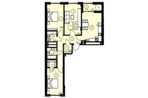 ЖК ул. Навроцкого: планировка 3-комнатной квартиры 98.36 м²