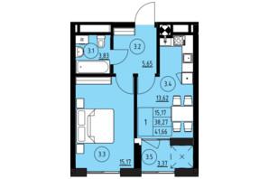 ЖК ул. Навроцкого: планировка 1-комнатной квартиры 41.66 м²