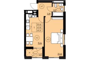 ЖК ул. Навроцкого: планировка 1-комнатной квартиры 49.31 м²