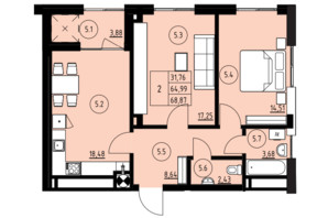 ЖК ул. Навроцкого: планировка 2-комнатной квартиры 68.87 м²