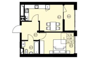 ЖК ул. Навроцкого: планировка 1-комнатной квартиры 46.7 м²