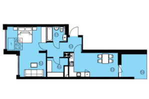 ЖК ул. Навроцкого: планировка 2-комнатной квартиры 64.92 м²