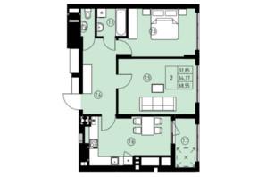 ЖК ул. Навроцкого: планировка 2-комнатной квартиры 68.55 м²