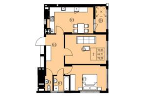 ЖК ул. Навроцкого: планировка 2-комнатной квартиры 70.29 м²