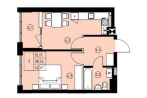 ЖК ул. Навроцкого: планировка 1-комнатной квартиры 42.41 м²