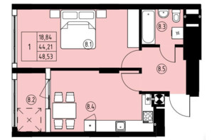 ЖК ул. Навроцкого: планировка 1-комнатной квартиры 48.53 м²