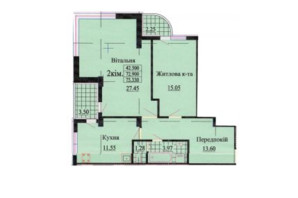 ЖК ул. Роксоланы, 16: планировка 2-комнатной квартиры 75.3 м²