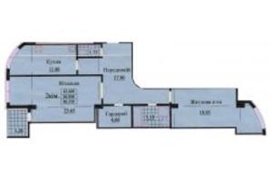 ЖК ул. Роксоланы, 16: планировка 2-комнатной квартиры 86.3 м²