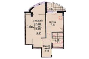 ЖК ул. Роксоланы, 16: планировка 1-комнатной квартиры 38.5 м²