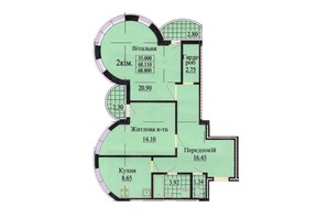 ЖК ул. Роксоланы, 16: планировка 2-комнатной квартиры 68.9 м²