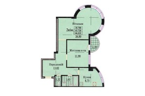 ЖК ул. Роксоланы, 16: планировка 2-комнатной квартиры 63.6 м²