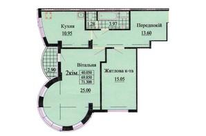 ЖК ул. Роксоланы, 16: планировка 2-комнатной квартиры 72.3 м²