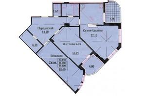 ЖК ул. Роксоланы, 16: планировка 3-комнатной квартиры 96.3 м²