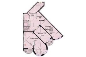ЖК ул. Роксоланы, 16: планировка 3-комнатной квартиры 117.7 м²