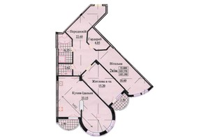 ЖК ул. Роксоланы, 16: планировка 3-комнатной квартиры 111.7 м²