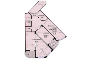 ЖК ул. Роксоланы, 16: планировка 3-комнатной квартиры 114 м²