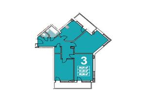 ЖК ул. Степана Бандеры 23: планировка 3-комнатной квартиры 84 м²