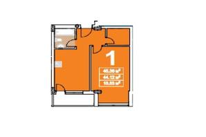 ЖК ул. Степана Бандеры: планировка 1-комнатной квартиры 45 м²