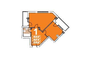 ЖК ул. Степана Бандеры: планировка 1-комнатной квартиры 49 м²
