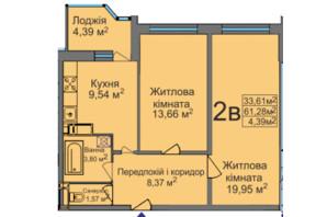 ЖК ул. Тараскова, 5: планировка 2-комнатной квартиры 61.28 м²