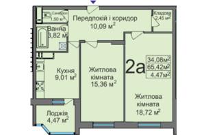 ЖК ул. Тараскова, 5: планировка 2-комнатной квартиры 65.42 м²