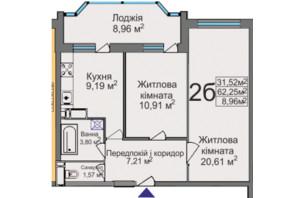 ЖК ул. Тараскова, 5: планировка 2-комнатной квартиры 62.25 м²