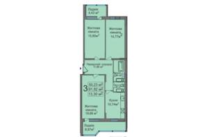 ЖК ул. Тараскова, 5: планировка 3-комнатной квартиры 91.92 м²
