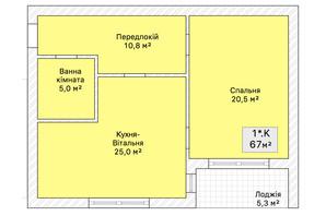 ЖК ул. Трамвайна 15: планировка 2-комнатной квартиры 67 м²