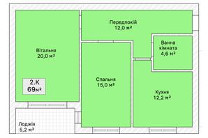 ЖК ул. Трамвайна 15: планировка 2-комнатной квартиры 69 м²