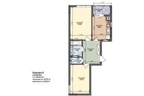ЖК ул. Трускавецкая: планировка 2-комнатной квартиры 59.59 м²
