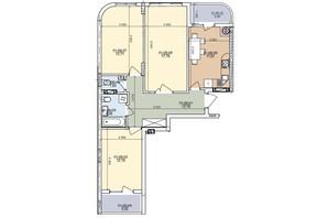 ЖК ул. Трускавецкая: планировка 3-комнатной квартиры 74.41 м²
