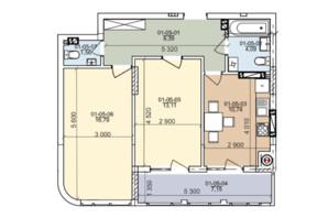 ЖК ул. Трускавецкая: планировка 2-комнатной квартиры 66.25 м²