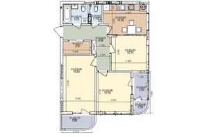 ЖК ул. Трускавецкая: планировка 3-комнатной квартиры 71.52 м²