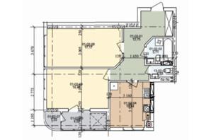 ЖК ул. Трускавецкая: планировка 2-комнатной квартиры 63.57 м²
