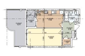 ЖК ул. Трускавецкая: планировка 1-комнатной квартиры 45.4 м²