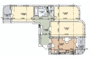 ЖК ул. Трускавецкая: планировка 3-комнатной квартиры 74.44 м²