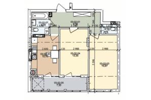 ЖК ул. Трускавецкая: планировка 2-комнатной квартиры 62.18 м²