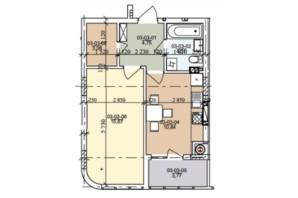 ЖК ул. Трускавецкая: планировка 1-комнатной квартиры 42.32 м²