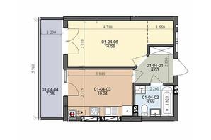 ЖК ул. Трускавецкая: планировка 1-комнатной квартиры 36.43 м²