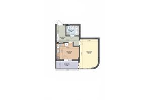 ЖК ул. Трускавецкая: планировка 1-комнатной квартиры 41.53 м²