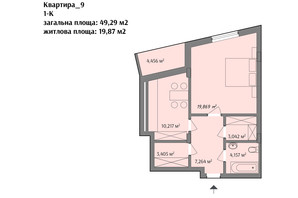 ЖК ул. Варшавская: планировка 1-комнатной квартиры 49.29 м²