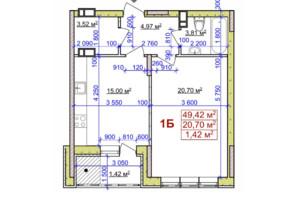 ЖК вул. Байди Вишневецького, 18: планування 1-кімнатної квартири 49.42 м²