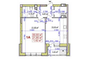 ЖК вул. Байди Вишневецького, 18: планування 1-кімнатної квартири 50.93 м²
