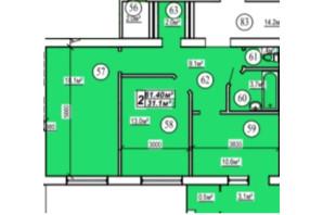ЖК вул. Боголюбська: планування 2-кімнатної квартири 61.4 м²