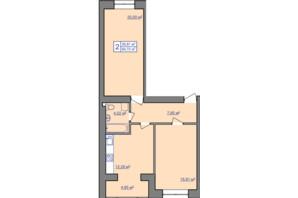 ЖК вул. Чорновола, 155: планування 2-кімнатної квартири 64.72 м²