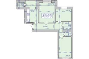 ЖК вул. Чорновола, 155: планування 3-кімнатної квартири 74.01 м²